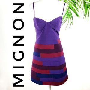 Vintage Mignon Dress 80's 90's Mini Purple Bodycon